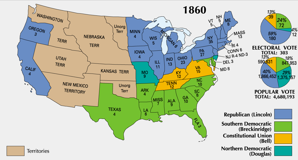 American Civil War With Reference To Abraham Lincoln And The - Map of the us 1860 slave states free states